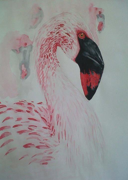 Flamingo I. Watercolour. SOLD.