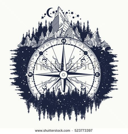 Mountain antique compass and wind rose tattoo art. Adventure, travel, outdoors, symbol. Tattoo for travelers, climbers, hikers. Compass in night forest tattoo boho style, t-shirt design