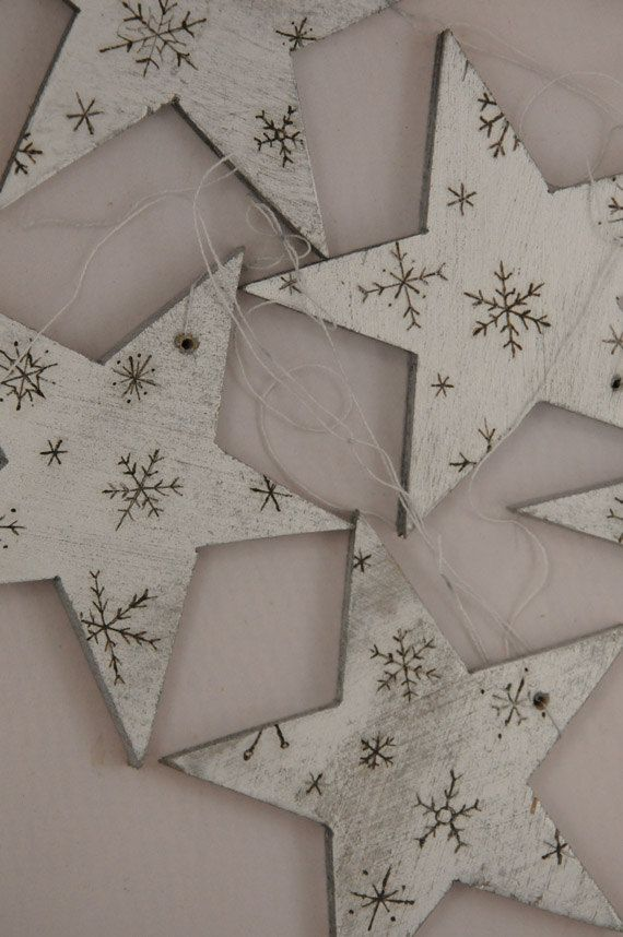 wooden silver star ornament - WickedFaerieGifts