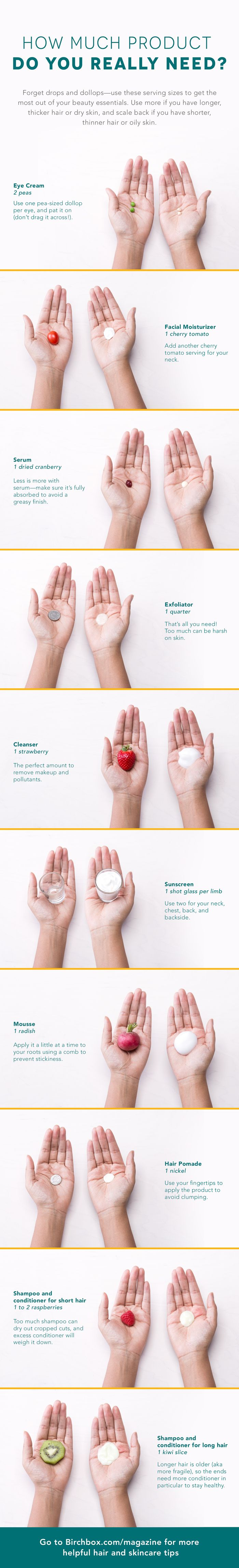 We <3 this! Use this guide to make sure you are using the right amounts for some of your beauty products. The shampoo surprised us!