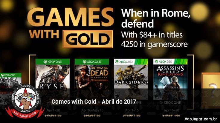 Romanos, zumbis, bestas do apocalipse e assassinos nas plataformas Microsoft no mês de Abril.  #GamesWithGold #Microsoft #XboxOne #Xbox360 #Ryse #RyseSonOfRome #TheWalkingDead #TheWalkingDeadSeason2 #Darksiders #AssassinsCreed #AssassinsCreedRevelations #VaoJogar #VideoGames #Games #InstaGames