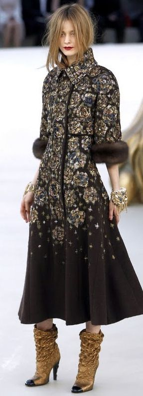 Love this Chanel runway look. - floral embroidered coat w/ fur trim + gold slouch boots w/ black toe cap