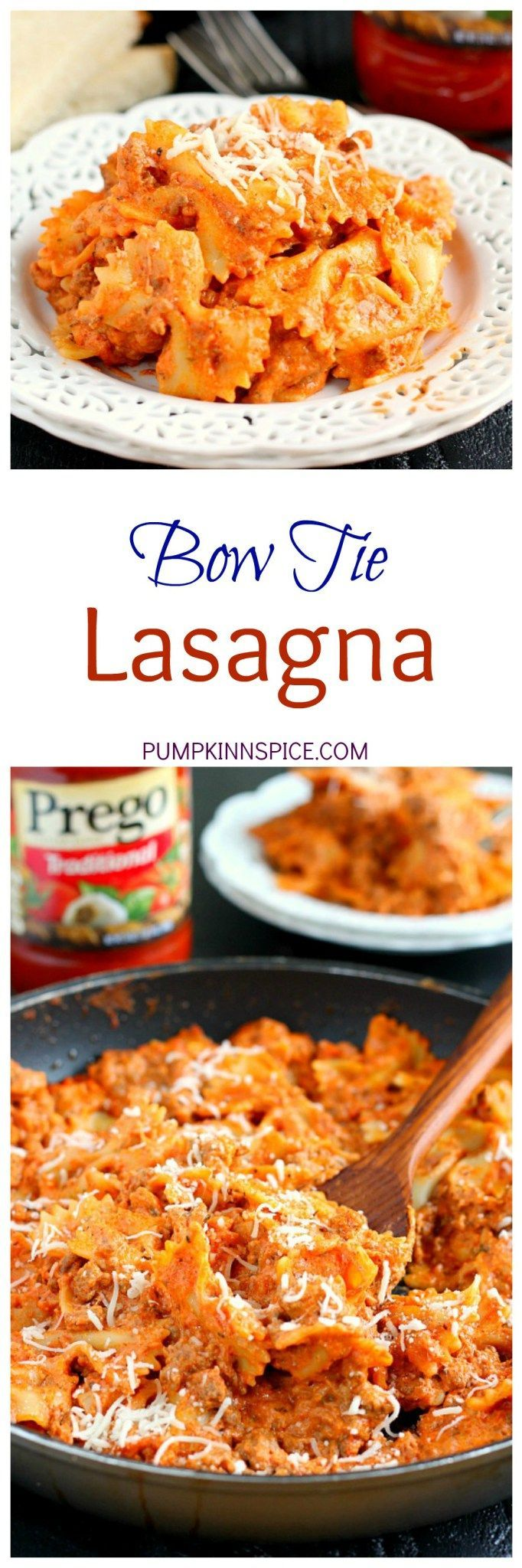 This Creamy Bowtie Lasagna is an easy recipe that the whole family will enjoy. Filled with hearty ingredients and made in a skillet, this pasta contains all of the flavors of classic lasagna, but without all of the prep work!