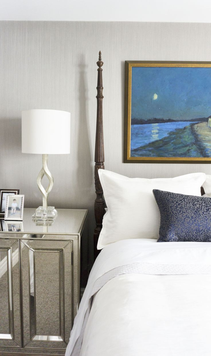 Transitional Master Bedroom With Four Poster Bed And Crisp