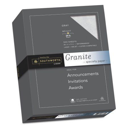 Southworth Granite Specialty Paper, Gray, 8.5 inch x 11 inch, 25 Percent Cotton, 500-Pack