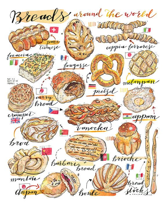 Bread Illustration. Breads of the world print. Food by LouPaper