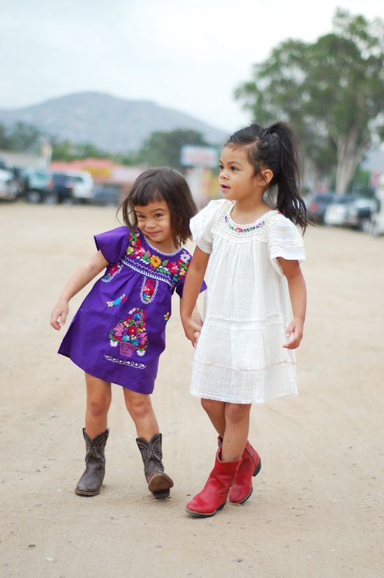 kids cowboy boots and those darling dresses. Love the whole look. My Ollie would look beautiful.
