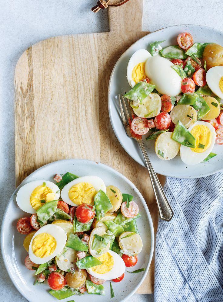 Recette de salade d'œufs, de pois mange-tout et de pommes de terre de Ricardo