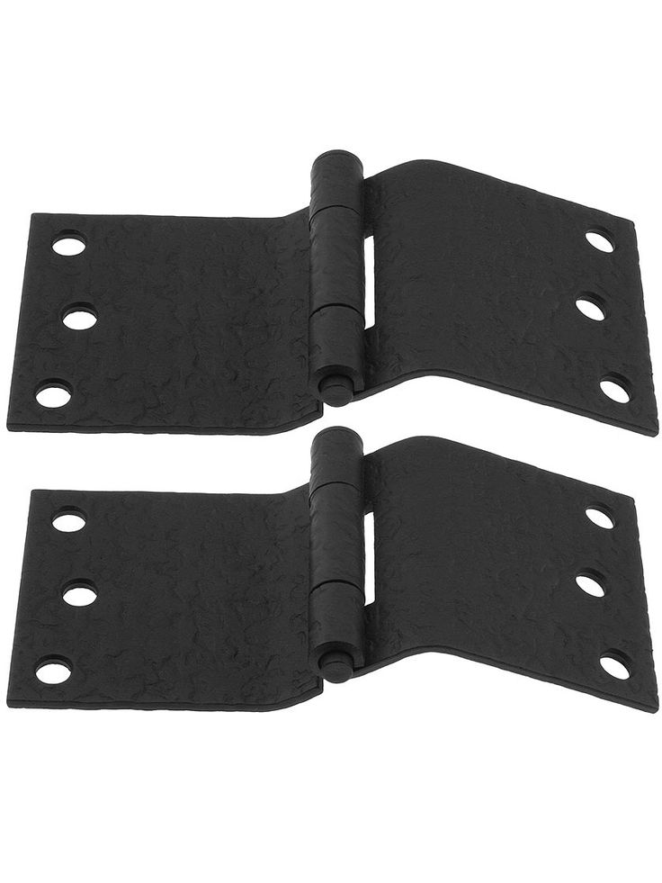"""Pair of Forged Iron Offset Mortise Shutter Hinges - 6"""" x 3"""" 
