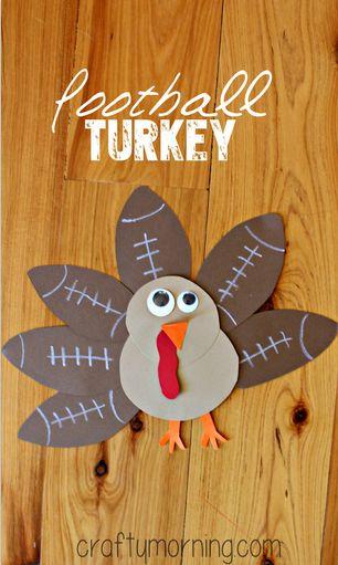Football Turkey Craft #Thanksgiving craft for kids | CraftyMorning.com
