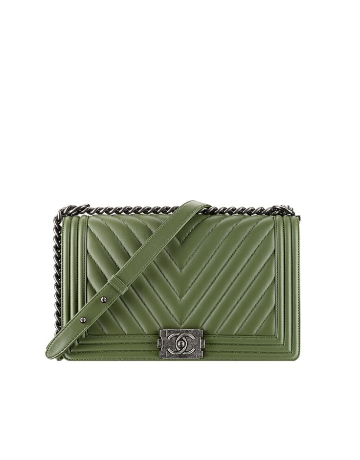 Calfskin chevron quilting Boy CHANEL flap bag. Spring-summer 2015 - CHANEL