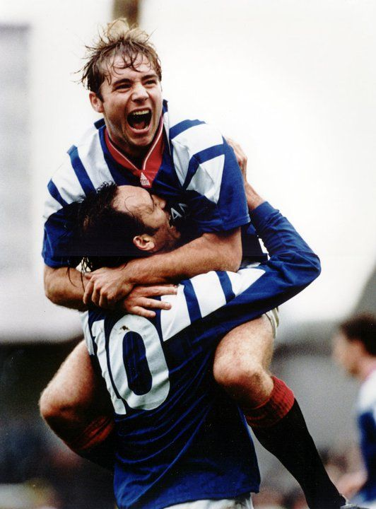 'Super Ally' Alistair Mcoist and Mark Hately celebrating after scoring for the mighty Glasgow Rangers