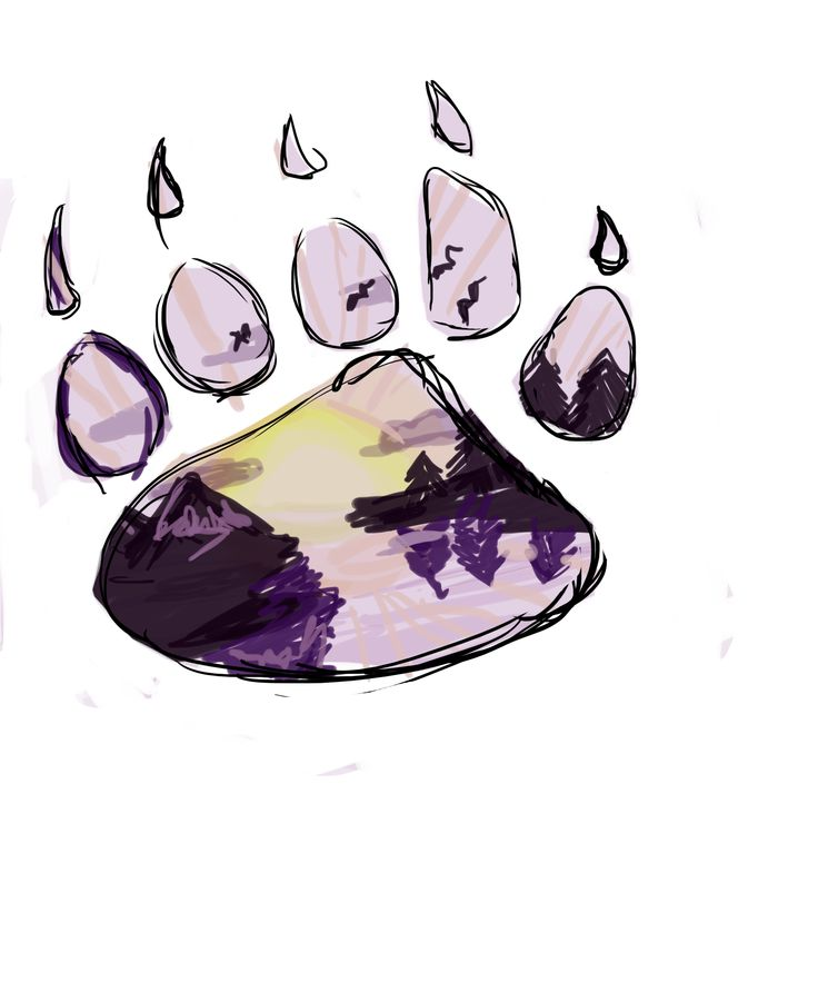 Basic  design for bear paw tattoo with water color scene inside. I'll have an  actual tattoo artist draw up the real concept and what not after the baby.