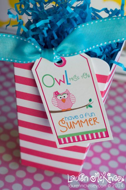 ADORABLE hanging gift tags with the sweet message OWL MISS YOU!  this printable is just perfect for the end of the school year!