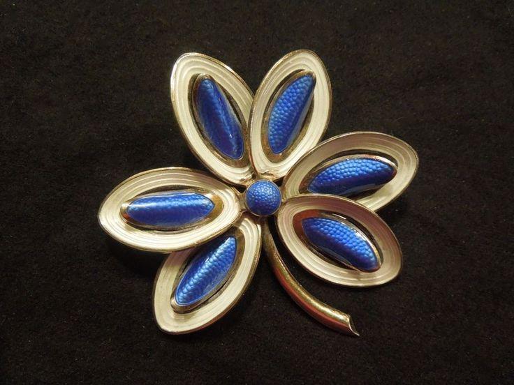 Blue & White Enamel & Sterling Silver Flower Pin Vintage Norway Aksel Holmsen #AkselHolmsen