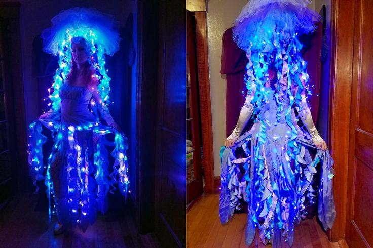I know its a bit late but I was a bio-luminescent jellyfish for Halloween.