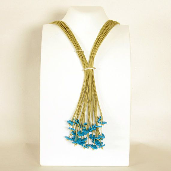 Turquoise flowers long lariat necklace Statement by Cardoucci