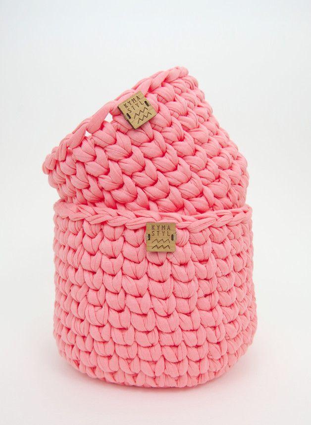 Utensilo aus Textilgarn: Praktischer Häkelkorb für Kleinkram // crochet storage bag made from jersey yarn - made by Kymastyl via DaWanda.com