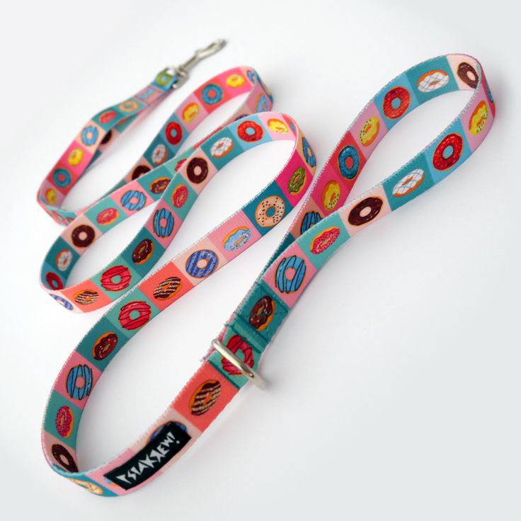 "Dog Leash Delicious Donut width 2 cm 0.78 "" wide, colorful designed pet leashes Psiakrew for small dogs and puppies by PSIAKREW on Etsy"