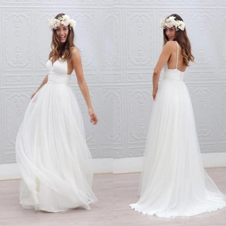 2016 Beach Summer Boho Wedding Dresses Sexy Backless Spaghetti Straps Floor Length Wedding Bridal Gowns Bohemian Formal Dresses For Wedding Brides Wedding Dresses Empire Line Wedding Dresses From Wholesalefactory, $134.66| Dhgate.Com
