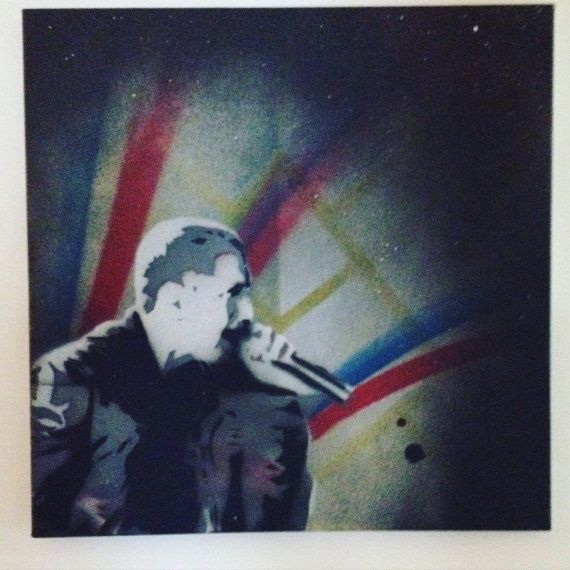 "Original Eminem  Spray Paint onto 12"" by 12"" Canvas Wall art, paintings, wall stencil, painting, poster print artwork"