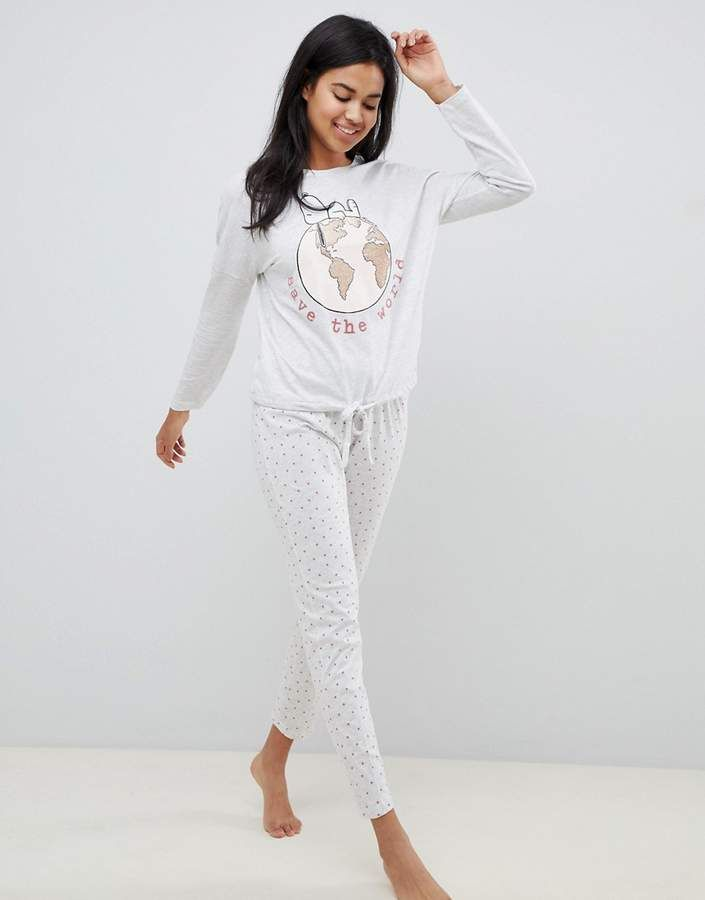 Women secret Snoopy Save The World long pyjama set in gray  Snoopy Save  Women de9a84b04