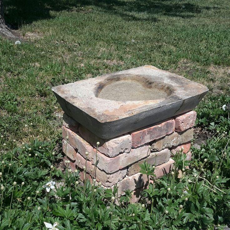 """Hypertufa Birdbath On A Base Of """"Old Chicago"""" Bricks"""