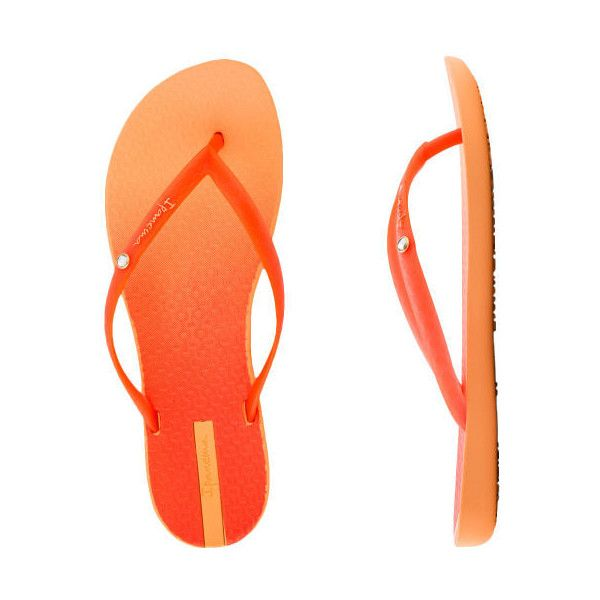 Ipanema Women's Flip Star Thong ($7.59) ❤ liked on Polyvore featuring shoes, sandals, flip flops, orange flip flops, ipanema sandals, ipanema shoes and flip-flop sandals