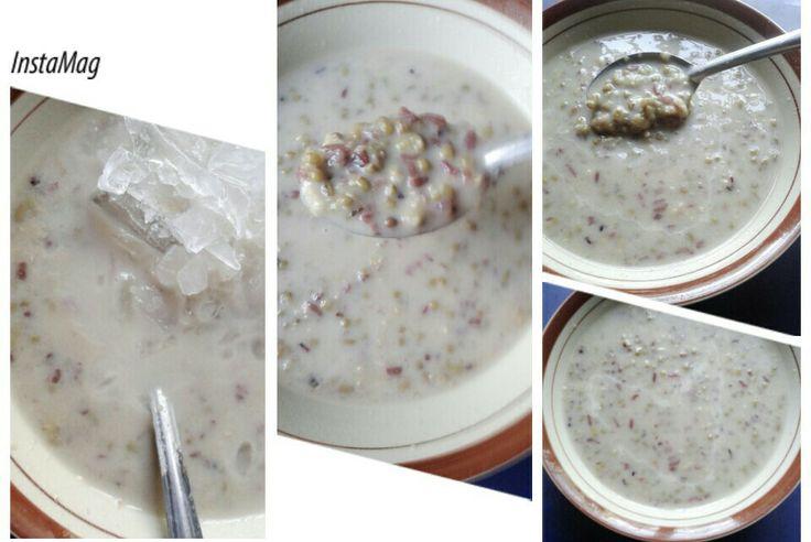 "Bubur kacang hijau ""green bean porridge"" + ice.. so yummyyy"