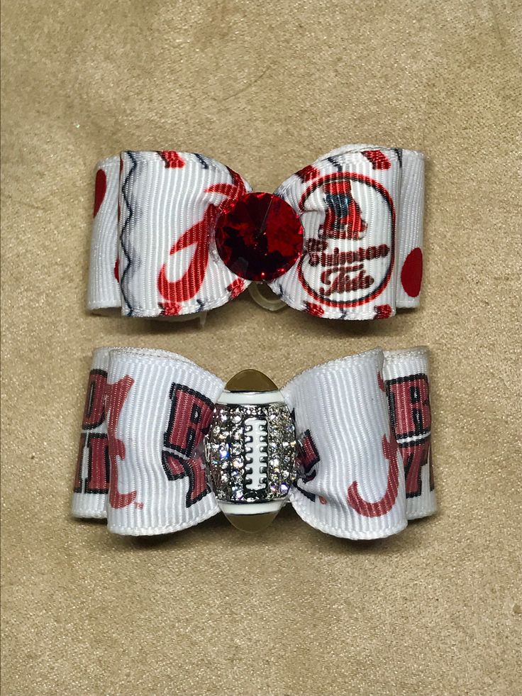 Dog Hair Bows- Alabama White Dots & Chevron Dog Bow Double Elastic Bands Red White Football Bows Crimson Tide by CreateYourOwnDesign on Etsy https://www.etsy.com/listing/539489408/dog-hair-bows-alabama-white-dots-chevron
