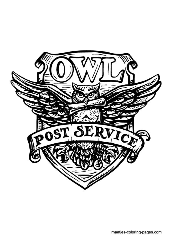 Owl post service harry potter coloring page