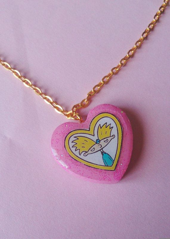 Helga's Locket Hey Arnold Charm Necklace 90's by GirlCentral