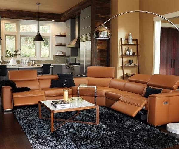 Kopervik Leather Power Reclining Sectional Reclining Sectional Power Recliners Leather Reclining Sectional