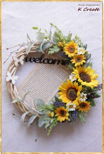 sold-out---Thank You!「プロバンスの向日葵リース」を作りました。 南仏のプロバンスをイメージして、 向日葵とラベンダーのお花をメインに作... ハンドメイド、手作り、手仕事品の通販・販売・購入ならCreema。
