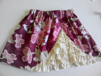 A sneaky peeky ruffle skirt with free tutorial from Simply Homemade.  Love the front ruffle bustle!