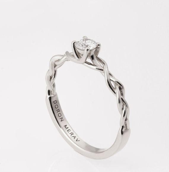 Trenzado anillo de compromiso anillo de compromiso por doronmerav