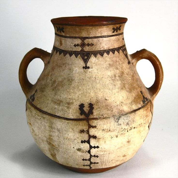 Native American Pottery Two Handled Jar, Probably Southwest Indian, Possibly Zuni, Early-Mid 19th C. Sold for $1,093.