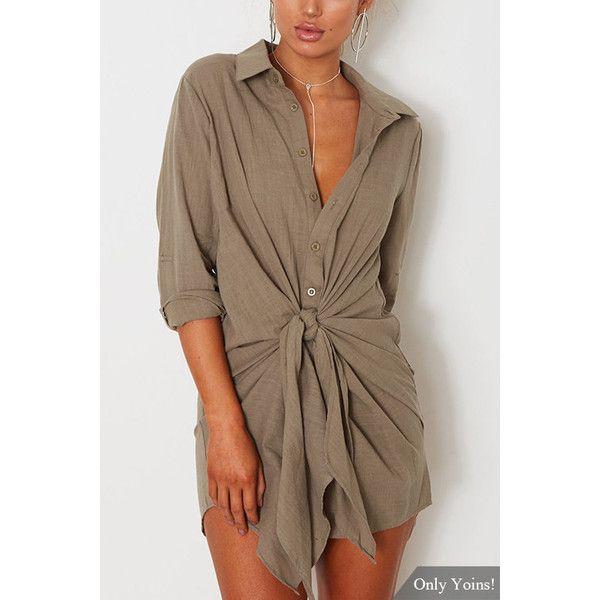 Yoins Dusty Khaki Shirt Dress With Belt ($21) ❤ liked on Polyvore featuring dresses, khaki, belted dresses, khaki dress, dresses with belts, belt dress and brown dresses