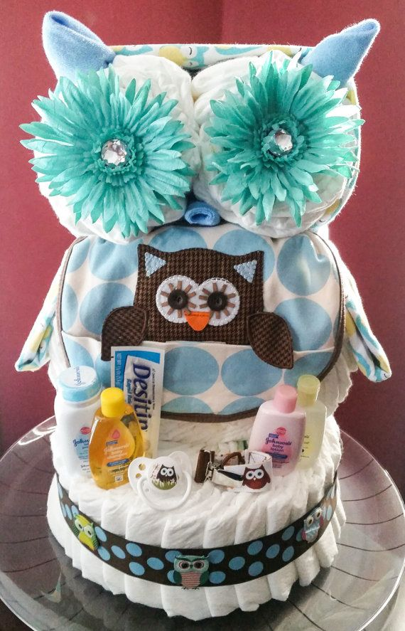 Owl Diaper Cake With Images Owl Diaper Cakes Baby Diaper Cake