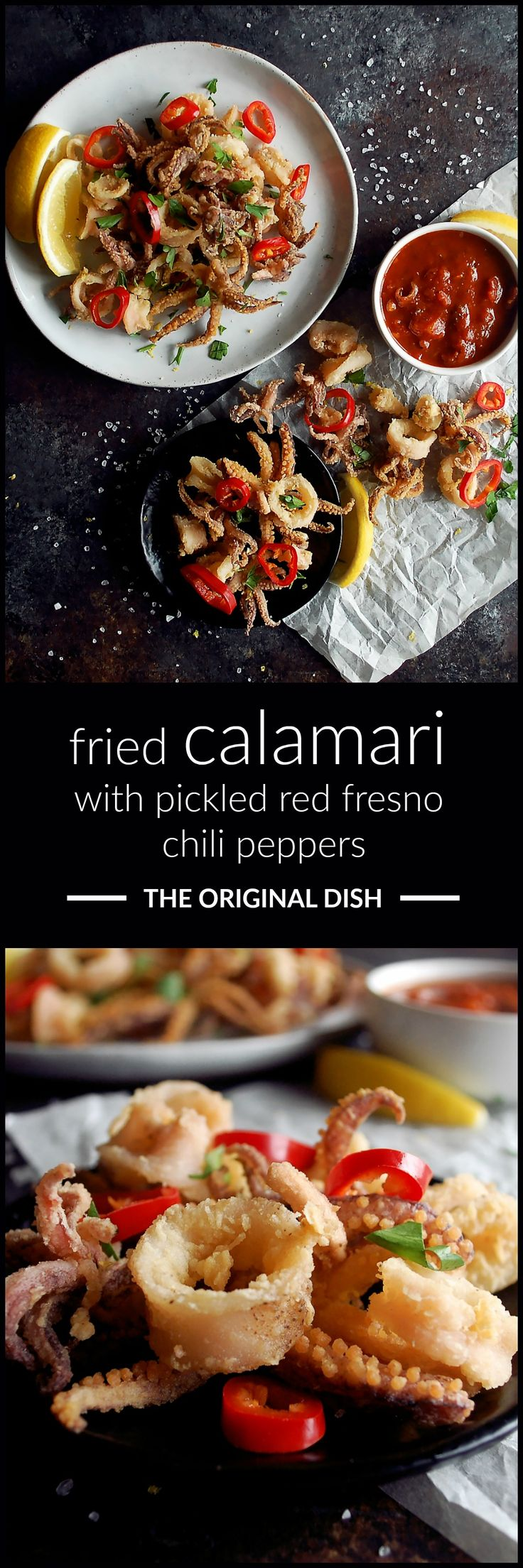 the easiest recipe for crispy fried calamari topped with homemade pickled red fresno chili peppers & served with marinara sauce...such a crowd-pleasing appetizer - www.theoriginaldish.com