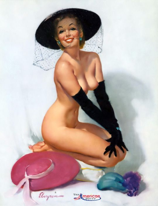 "Gil Elvgren - 1960 Brown & Bigelow Calendar - Added to collection from Grapefruit Moon Gallery a few weeks ago. Here are their comments on this beautiful illustration - "" A captivating and sassy young nude pin-up Elvgren girl - seeking a positive reaction for the black veiled mid-century wide brimmed straw hat she has tried on; in lieu of a couple discarded on the floor. This is perhaps the only pin-up print the artist did for the calendar company that was untitled. """