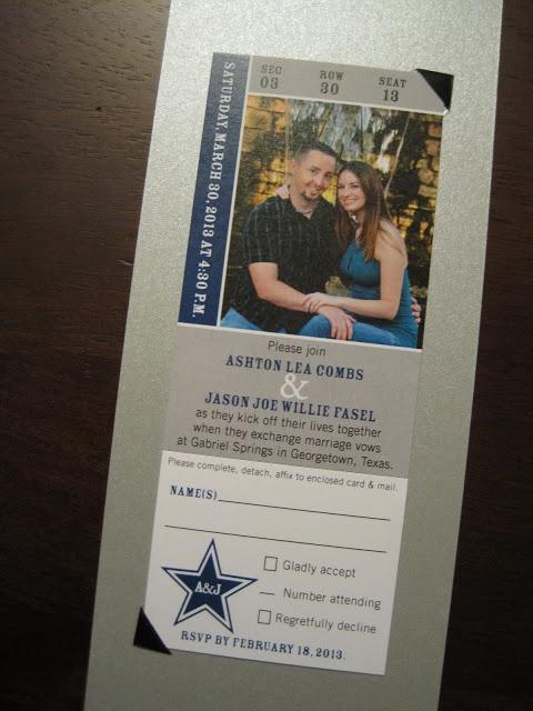 The Inviting Pear Photoblog: Cowboys Ticket as Wedding Invitation