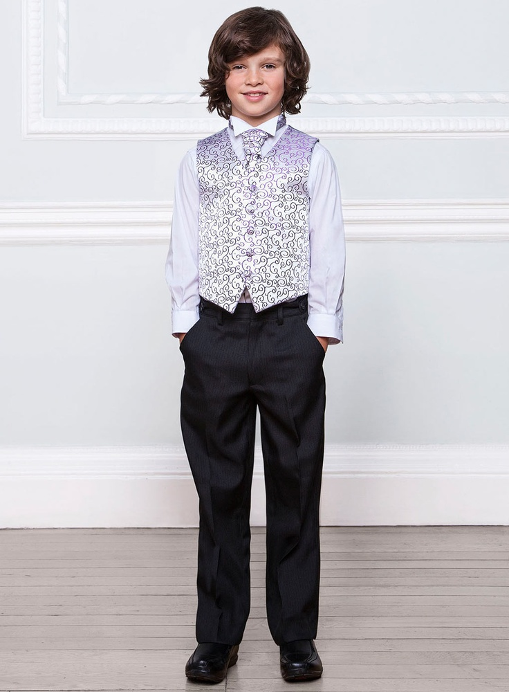 page boy attire in black and white | Home pageboys pageboys sets Pageboys Purple Waistcoat, Cravat ...