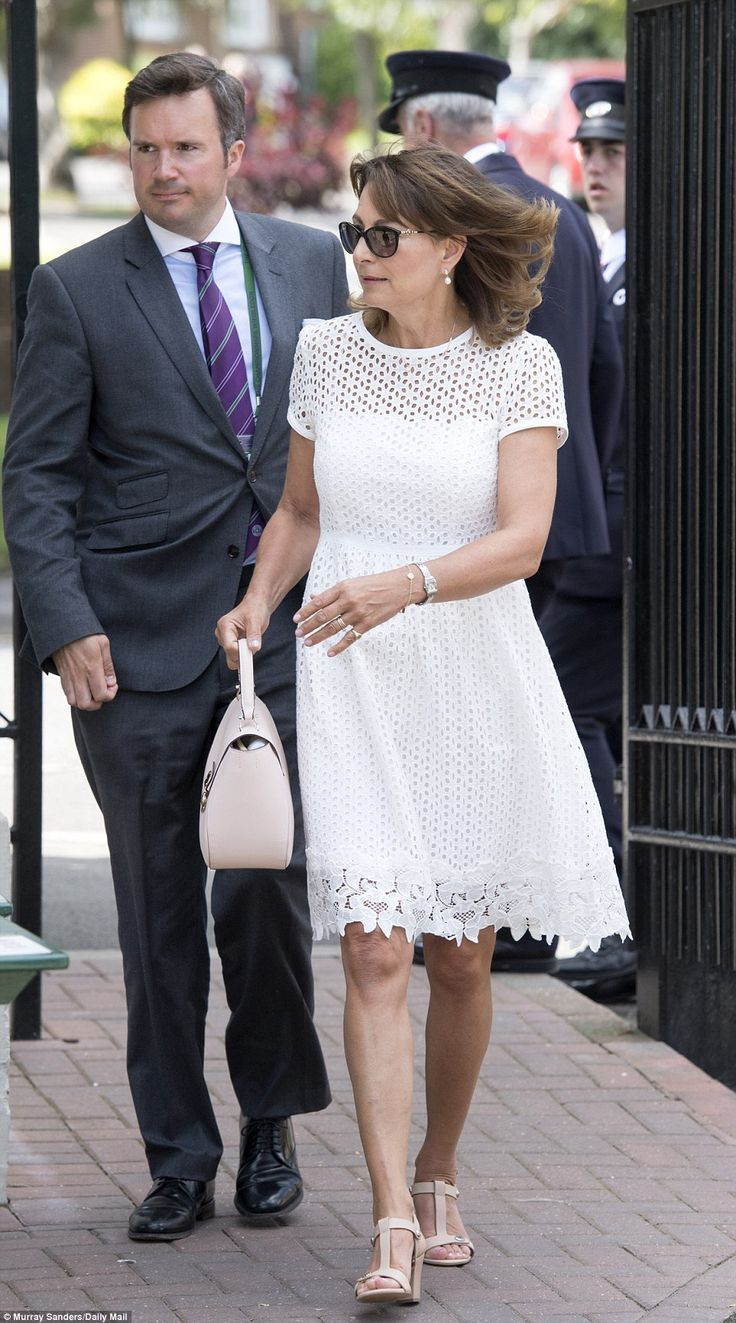 Kate Middleton's mother Carole dons her whites at Wimbledon 2016 to watch Andy Murray | Daily Mail Online
