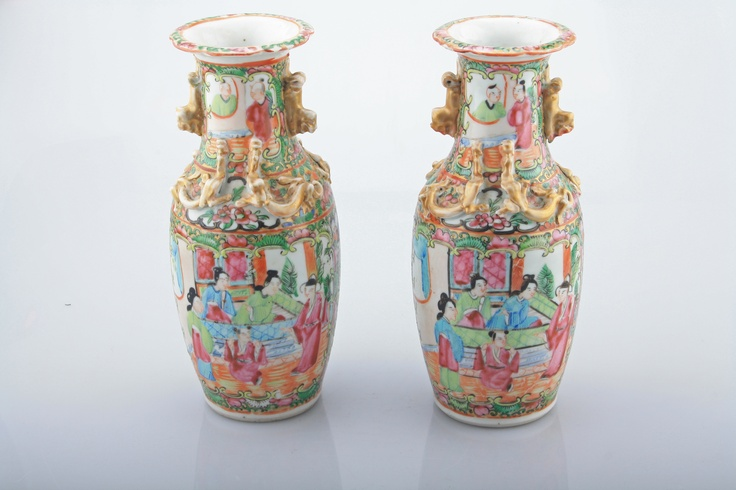 Description: A Pair Of Cantonese Porcelain Vases These Vase were made in China during the middle part of the C19th with the style of famille rose decoration associated with Canton.  Your item's measurements: Height: 20,5 cm  Item Date: Mid 19th Century