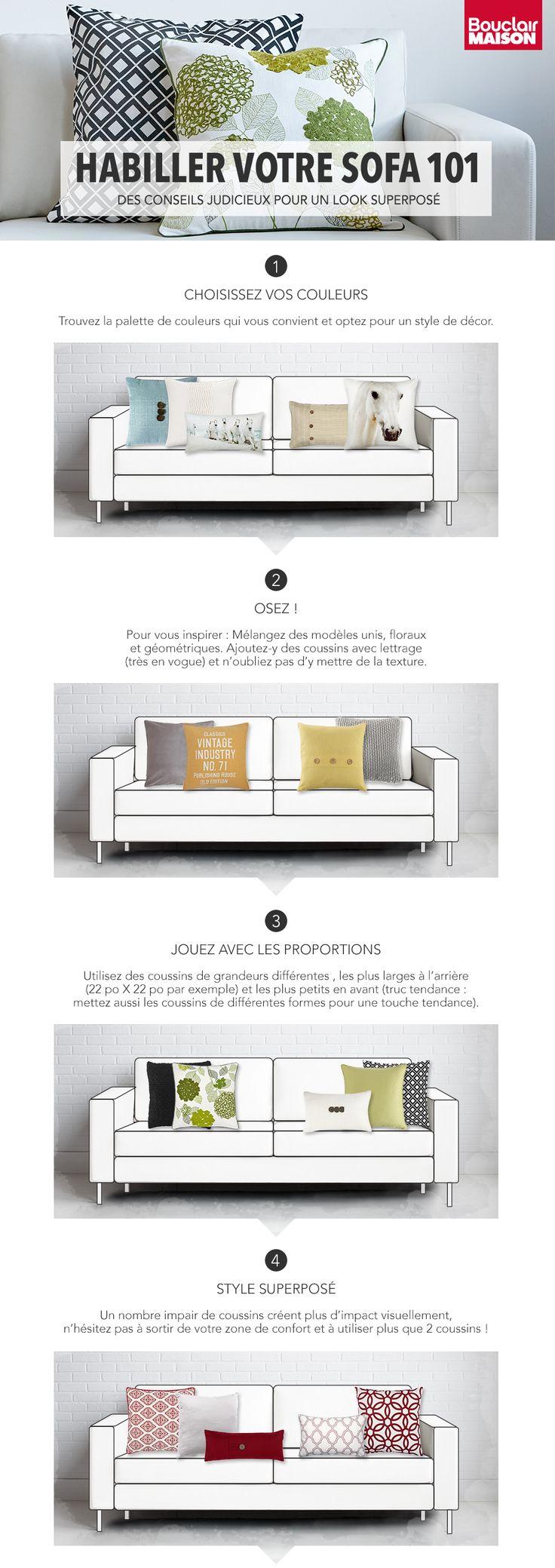 Nous voulons toutes d'un sofa digne des magazines de déco d'intérieur ^_^ Suivez ces 4 étapes et exprimez votre personnalité. #fauteuil #sofa #decormaison #decor #salon #decorsalon  #decoration #decorationdinterieur #bouclair #coussins