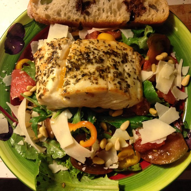 Quick and easy grilled halibut salad dinner