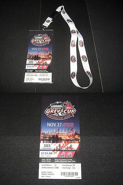 Football-CFL 2861: 2011 Cfl Grey Cup Ticket Stub Lanyard Signed Autographed Bc Lions -> BUY IT NOW ONLY: $49.99 on eBay!