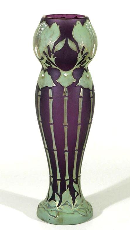 Art Nouveau Cameo Glass Vase by Glashütte Josef Riedel Polaun Böhmen ca.1900-1905.