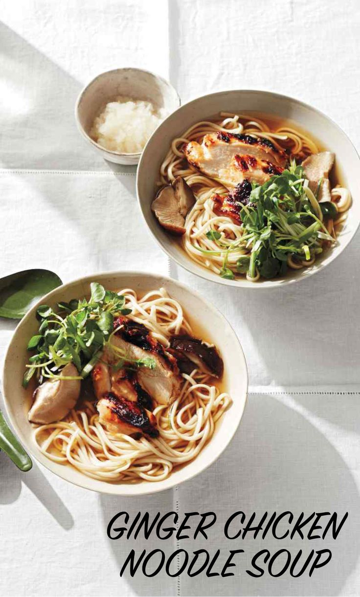 Ginger Chicken Noodle Soup | Martha Stewart Living - The classic cure-all chicken noodle soup gets a Japanese makeover, with slices of miso-marinated chicken breast and hearty udon noodles in a steamy broth. Grated daikon radish and fresh ginger not only brighten the flavor--their subtle heat and pepperiness may even help clear congestion.